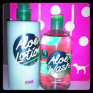 NWT PINK aloe lotion and body wash set